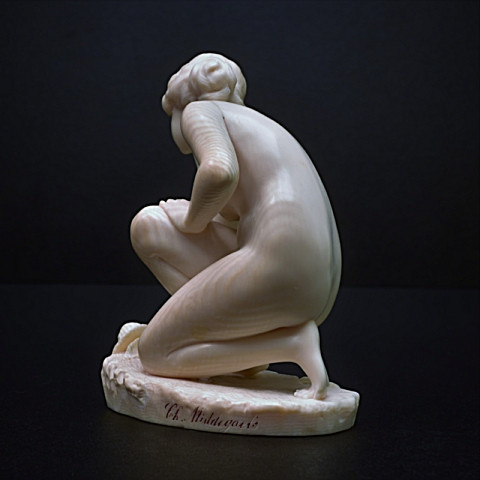 Art deco ivory sculpture Nude girl with shell  by C.H Middegaels