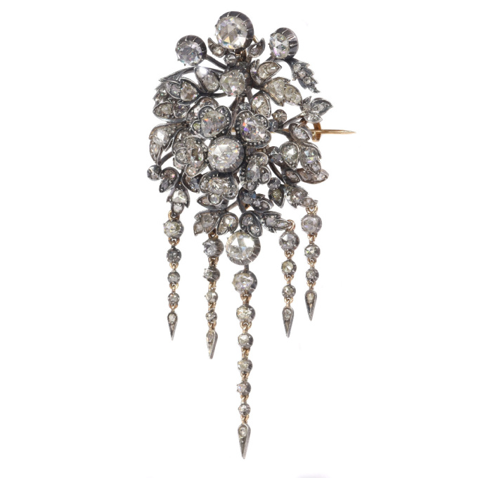 Impressive antique flower brooch trembleuse corsage fully embellished with high quality rose cut diamonds by Unknown Artist