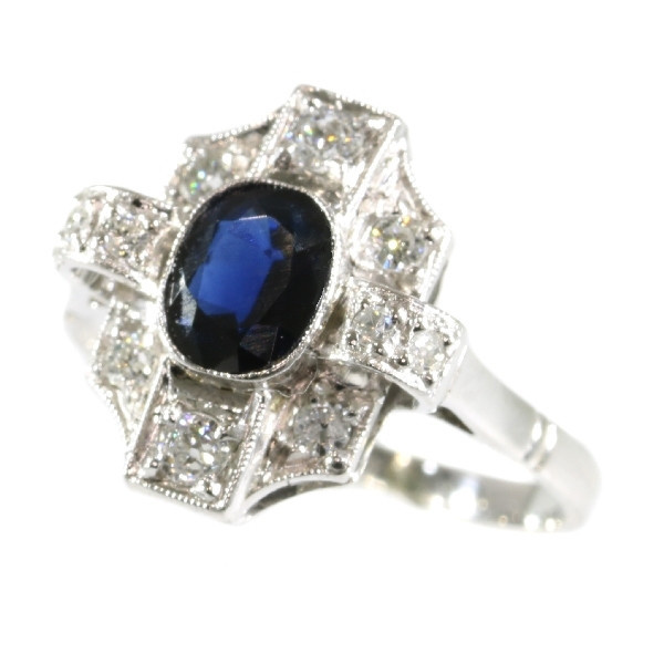 Vintage Art Deco diamond and sapphire engagement ring by Unknown Artist