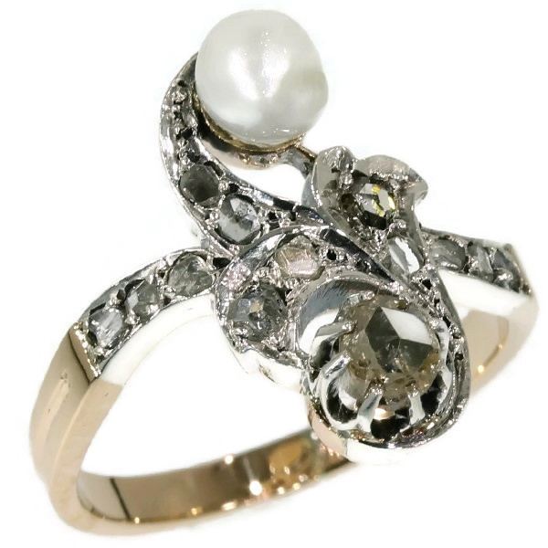 Antique diamond pearl ring Victorian cross over ring also called toi and moi by Unknown Artist