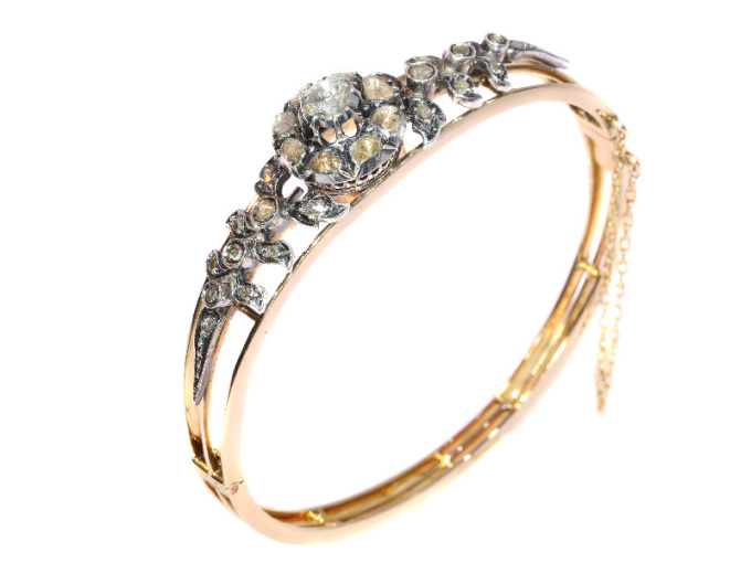 Real antique vintage rose cut diamond pink gold bangle by Unknown Artist