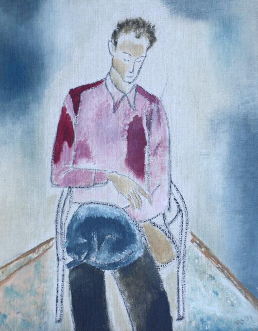 Zelfportret met kat by Tinus van Doorn