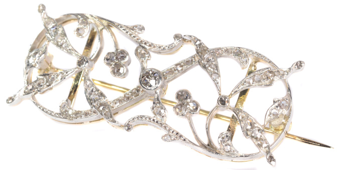 Vintage Antique Art Nouveau diamond set brooch dog collar head band by Unknown Artist
