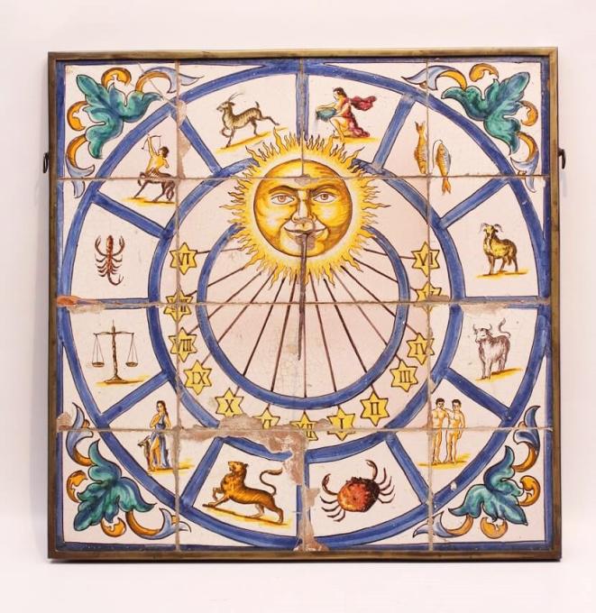 A South European polychrome fayence sundial, circa 1750 by Unknown Artist