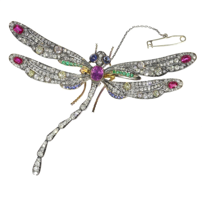 Magnificent Art Nouveau bejeweled dragonfly brooch by Unknown Artist