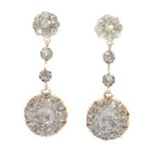 Vintage long pendant diamond earrings with 44 rose cut diamonds by Unknown