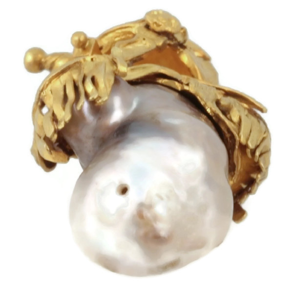 Intriguing Victorian pendant with big baroque pearl and warrior adornments by Unknown