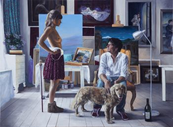 The painter, the model  by Iris Frederix