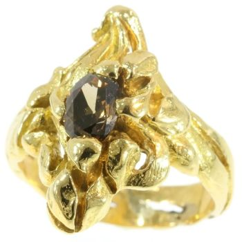 Art Nouveau yellow gold flowery ring diamond, French jewelry by Unknown Artist