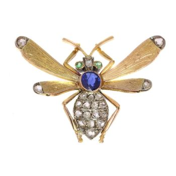 Victorian queen bee brooch with diamonds sapphire and emeralds by Unknown Artist