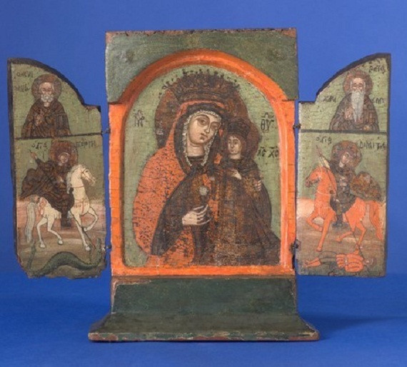 Greek triptych icon: Mother of God of the Never Fading Rose by Unknown Artist