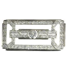 Estate platinum Art Deco diamond brooch made in the Fifties by Unknown Artist