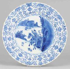 Plate with hunters scene,  Kangxi period (1662-1722)