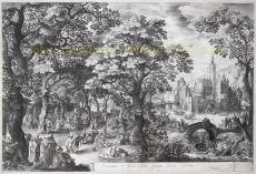 Boslandschap  by  David Vinckboons / Nicolaes de Bruyn