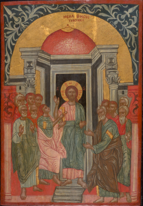 Antique Greek Icon: Apostle Thomas by Unknown Artist