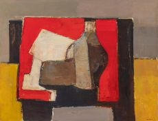 Still life on a red table by Kagie Jan