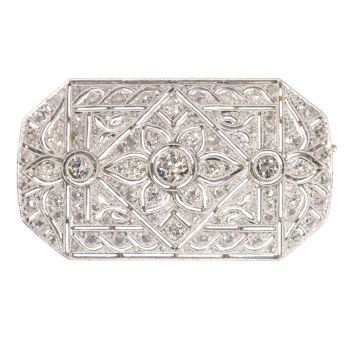 Vintage Art Deco platinum diamond brooch sold by Simons Jewellers The Hague & Amsterdam by Unknown Artist