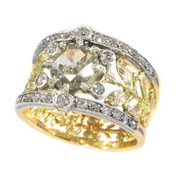 Victorian decorative diamond ring with large center stone by Unknown Artist