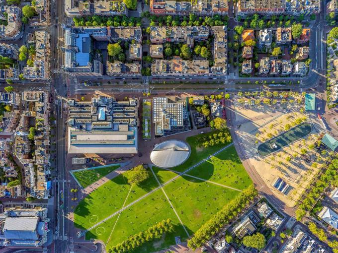 Museum Square - Amsterdam Aerials by Jeffrey Milstein