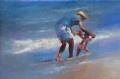 Leren Lopen aan Zee II by Dinie Boogaart