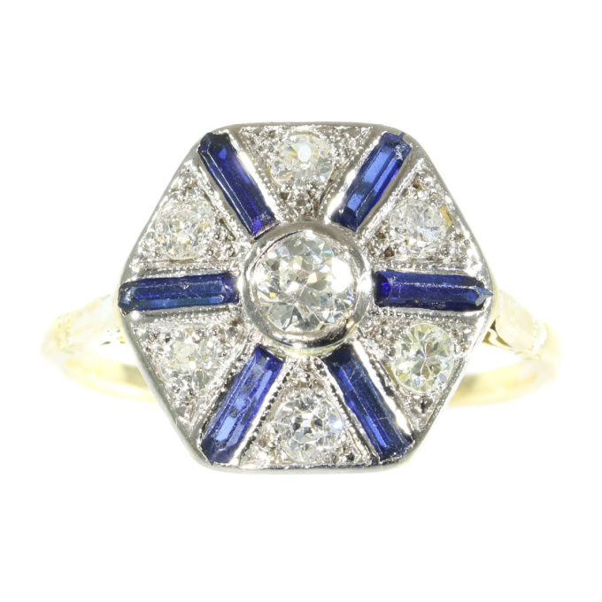 Vintage Art Deco ring with sapphires and diamonds by Unknown Artist