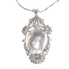 Vintage Fifties diamond and pearl pendant necklace by Unknown