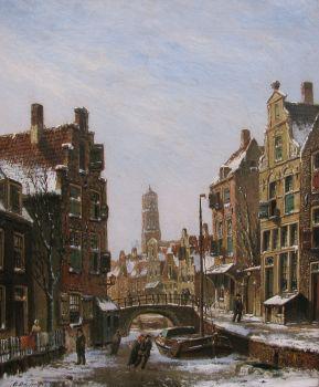 Figures on a frozen canal by Oene Romkes de Jongh