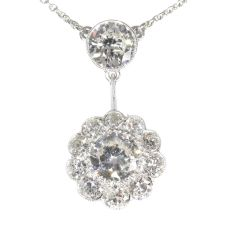 Large Art Deco diamond pendant with total 4.27 crt brilliant cut diamonds by Unknown Artist