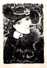 Lady in a straw hat with flower