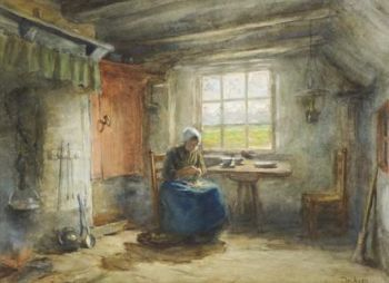 Interior with a Woman by Gijsbertus Derksen