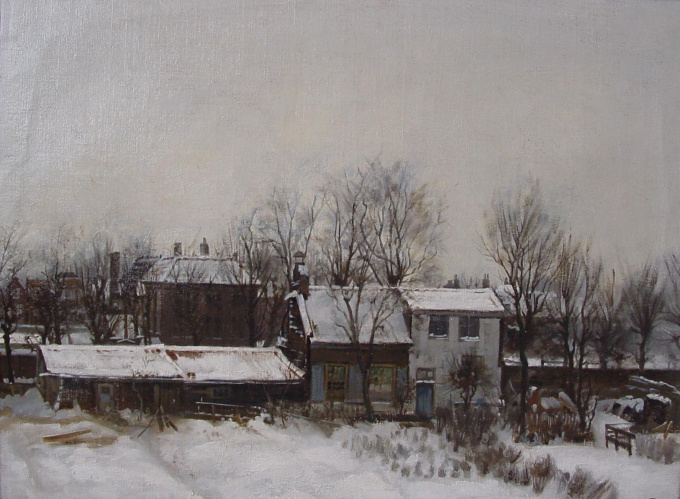 Outskirts of Amsterdam in wintertime by Cornelis Stroo