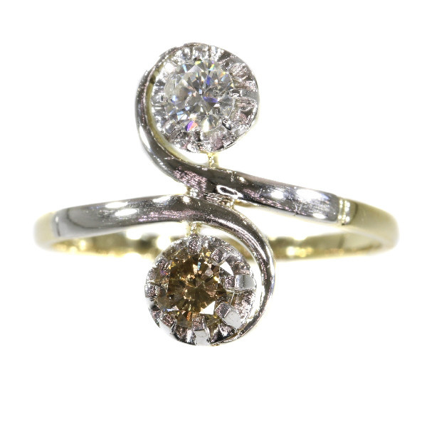 Vintage Fifties romantic engagement ring with white and champagne brilliant by Unknown