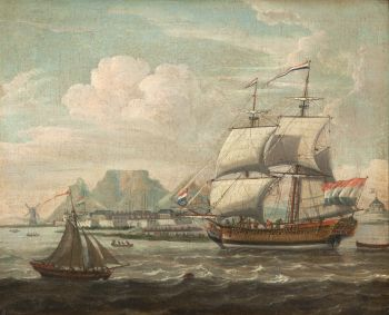 Arrival of a Dutch East Indiaman in the Table Bay by Dutch School