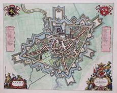 Plattegrond van Breda, kopergravure uitgegeven te Amsterdam in 1649 door Joan Blaeu by Blaeu, Joan