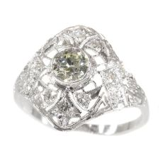 Estate Edwardian Art Deco platinum diamond engagement ring by Unknown