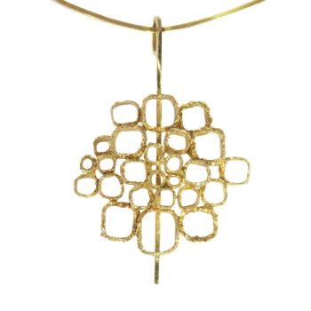 Vintage Sixties Art Jewellery gold pendant on stiff gold wire necklace by Unknown Artist