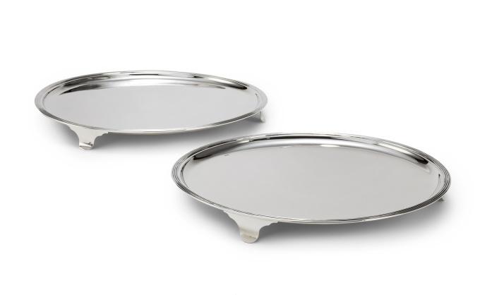 A pair of Dutch silver salvers by Diederik Willem Rethmeijer