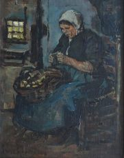 Woman peeling potatoes by Suze Bisschop-Robertson