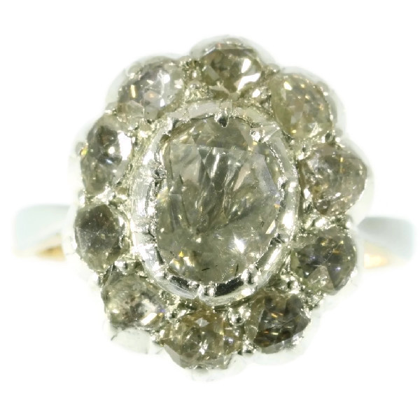 Vintage diamond cluster ring with big rose cut diamond by Unknown
