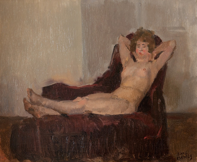 Lying Nude on a Couch by Isaac Israels