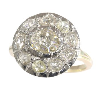 Antique Victorian large rose cut diamond cluster ring by Unknown Artist