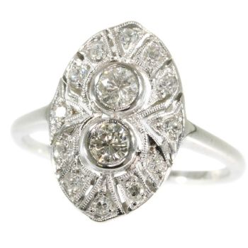 White gold Art Deco engagement ring with diamonds by Unknown Artist