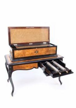 A large Swiss walnut Allard & Co interchangeable cylinder music box on table, circa 1890 by D. Allard & Co