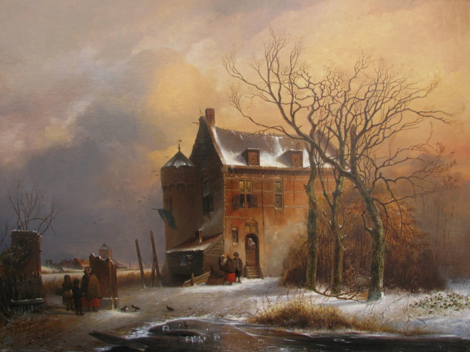 People in front of a manor in winter by Charles Leickert