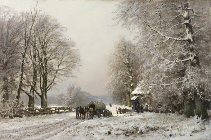 A winter landscape with a horse-drawn cart by Louis Apol