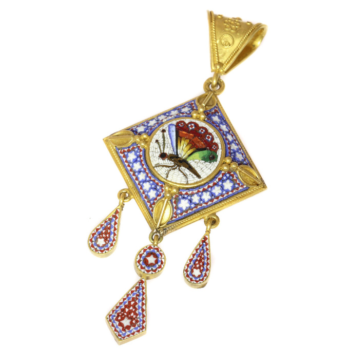 Victorian micromosaic pendant with compartment in the back by Unknown