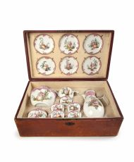 A Meissen Tea and coffee service in a later leather case.