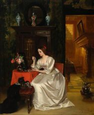 Interior with elegant young lady by Huib van Hove