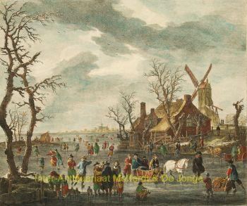 Dutch winter scene/ ijsgezicht  by Carl Conti