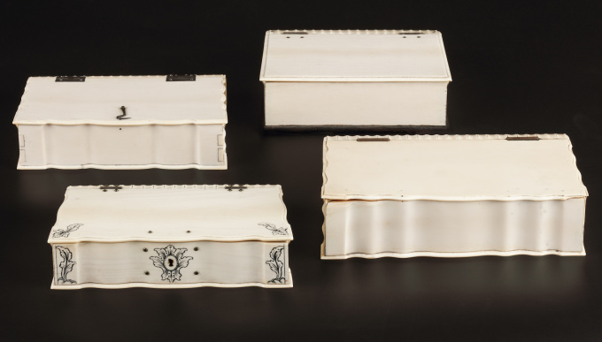 A COLLECTION OF FOUR SRI LANKAN IVORY BIBLE BOXES by Unknown Artist